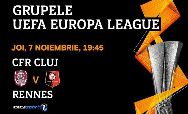 UEFA Europa League: Confruntare decisivă pentru clujeni: CFR – Rennes, în direct, la Digi Sport 1