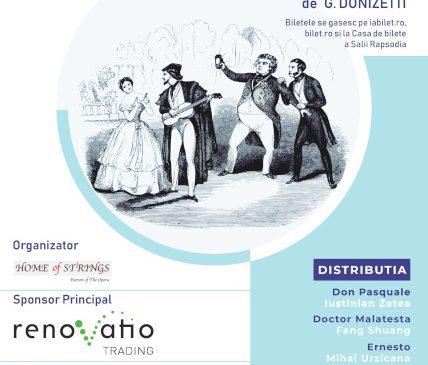 "Asociația Home of Strings vă invită la Opera ""Don Pasquale"" de Gaetano Donizetti"