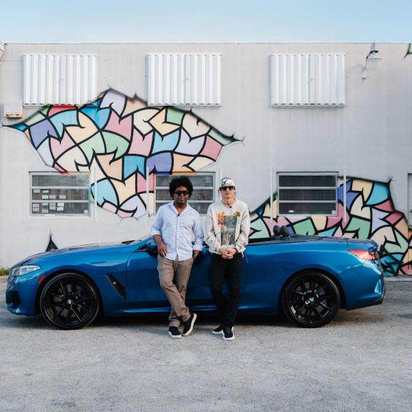 "BMW M850i xDrive Cabrio at Miami with visual artist Alexandre Arrechea @alexandrearrechea and street artist Spencer ""MAR"" Guilburt @this_means"