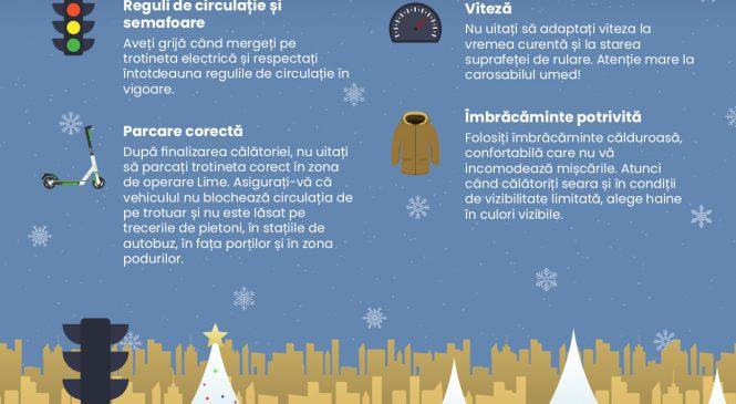 Trotinetele Lime sunt disponibile în București și în lunile de iarnă