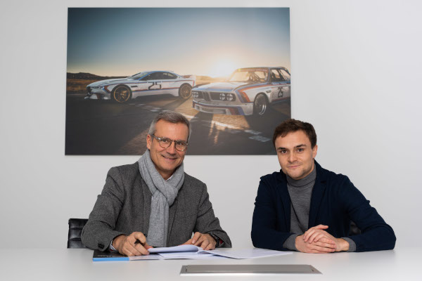 Munich (GER), 18th December 2019. Lucas Auer, Jens Marquardt, BMW Motorsport Director, DTM, contract signing
