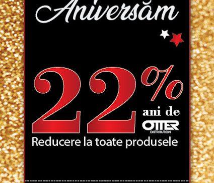 Sărbătorește 22 de ani de OTTER DISTRIBUTION cu discounturi de 22% la toate produsele