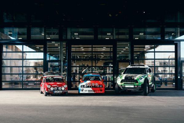BMW Group Classic beim GP Ice Race 2020. From left to right Morris Mini-Cooper S Works Rallye, BMW M3 Rallye, MINI ALL4 RACING X-RAID DAKAR