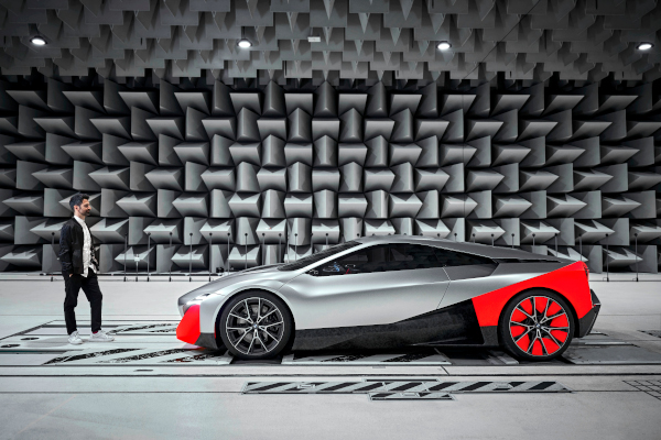 BMW Sound Designer Renzo Vitale and BMW Vision M NEXT in the anechoic chamber