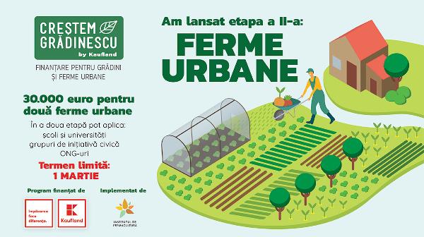 """Kaufland România, împreună cu Institutul de Cercetare în Permacultură din România, lansează etapa a doua a programului de finanțare ,,Creștem Grădinescu"""", pentru înființarea a două ferme urbane"""