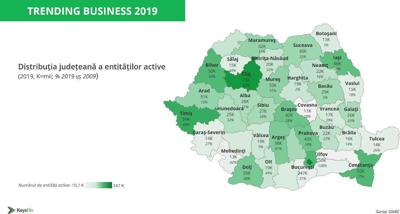Distributie entitati active 2019