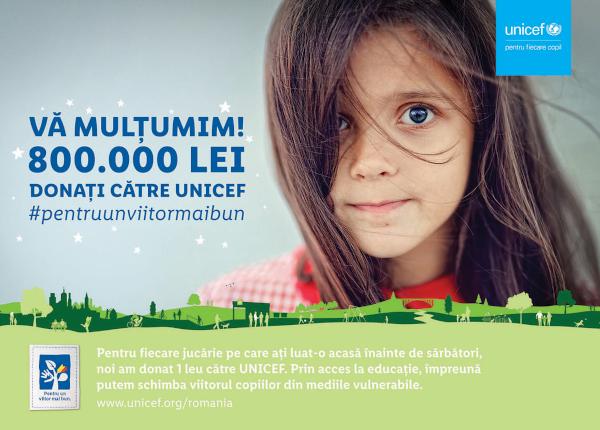 Lidl investeste 800.000 lei catre proiectele UNICEF