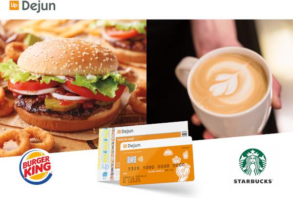 Cardurile Up Dejun vor putea fi folosite în cafenelele Starbucks si in lanturile de restaurante Burger King