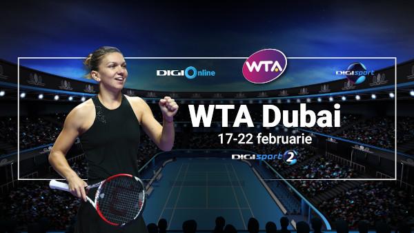 WTA Dubai, în exclusivitate, pe Digi Sport: Simona Halep o va întâlni pe Ons Jabeur, în direct, la Digi Sport 2