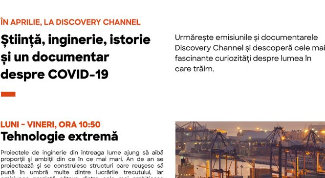 Știință, inginerie, istorie și un documentar despre COVID-19 în aprilie la Discovery Channel