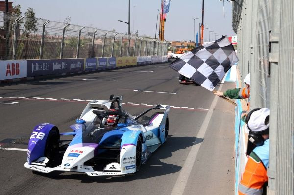 Marrakesh (MAR), 29th February 2020. Marrakesh E-Prix, BMW i Andretti Motorsport, 2nd place driver in the race Maximilian Gunther (GER) No. 28 BMW iFE.20