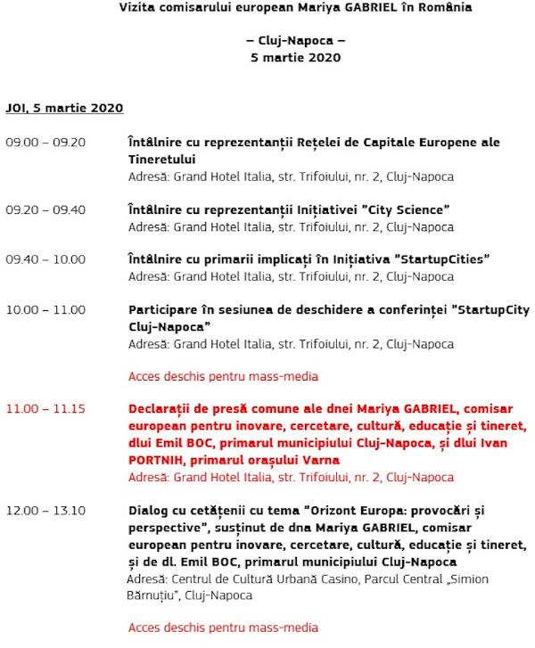program vizita Mariya Gabriel Cluj