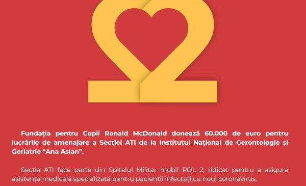 Fundația pentru Copii Ronald McDonald susține lupta împotriva Covid-19