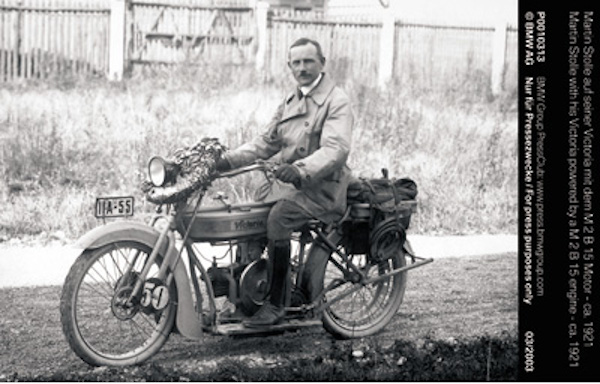 Martin Stolle with his Victoria powered by a M 2 B 15 engine - ca. 1921