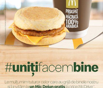 McDonald's oferă mic dejun din partea casei pentru Linia Întâi