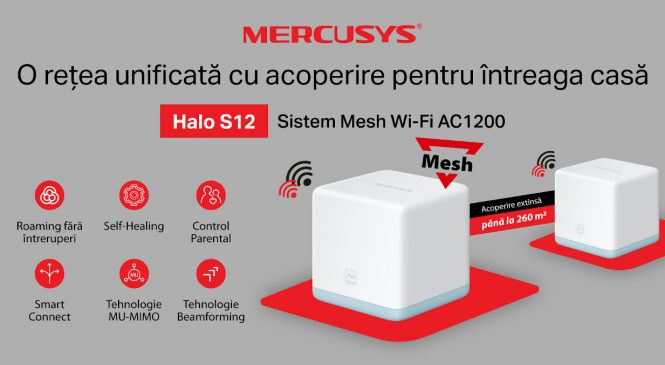 Mercusys® lansează în România primul său sistem Whole Home Mesh Wi-Fi AC1200, Halo S12, cu acoperire pentru întreaga casă