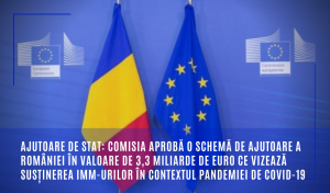 Comisia aprobă o schemă de ajutoare a României în valoare de 3,3 miliarde de euro ce vizează susținerea IMM-urilor în contextul pandemiei de COVID-19