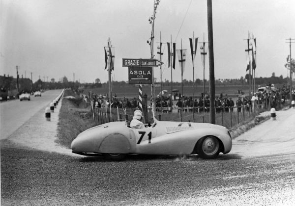 "BMW 328 ""Mille Miglia"" 'Trouser Crease' Roadster during the 1st Italian Mille Miglia Grand Prix in Brescia, April 28, 1940"