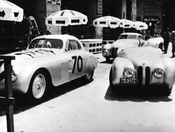 "BMW 328 ""Mille Miglia"" cars scrutineering for the 1st Italian Mille Miglia Grand Prix in Brescia, April 28, 1940"