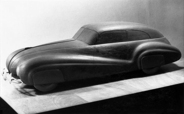 BMW scale model with aerodynamic body similar to BMW 328 Kamm Limousine