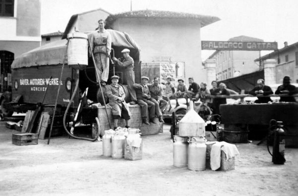 BMW team paddock at Castiglione for the 1st Italian Mille Miglia Grand Prix in Brescia, April 28, 1940