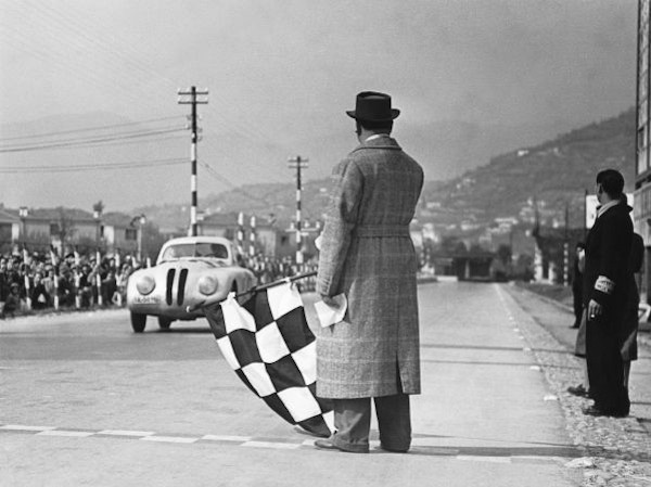 Crossing the finishing-tape at the 1st Italian Mille Miglia Grand Prix at Brescia, April 28, 1940