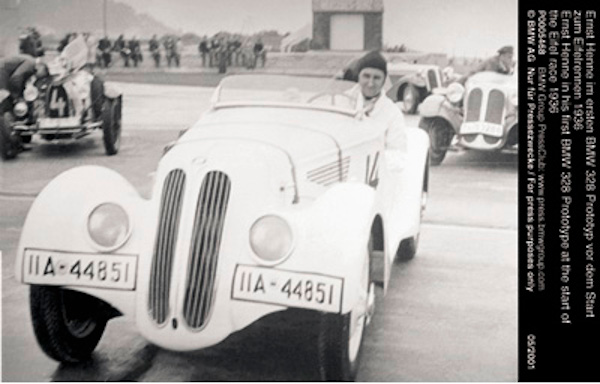 Ernst Henne in his first BMW 328 Prototype at the start of the Eifel race 1936