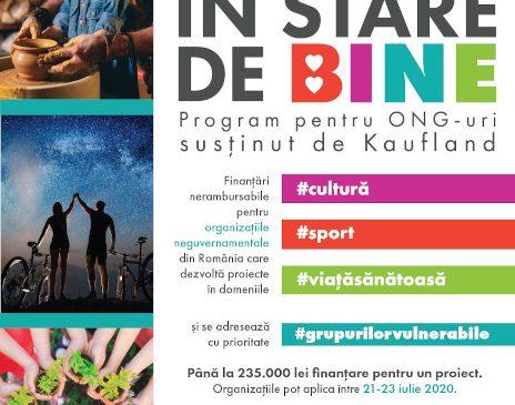 """Kaufland România continuă pentru al treilea an la rând programul """"În stare de bine"""" și oferă finanțare de peste 450.000 euro pentru proiectele organizațiilor neguvernamentale"""