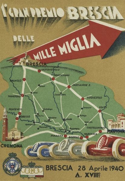 "Poster for the 1940 ""Mille Miglia"""