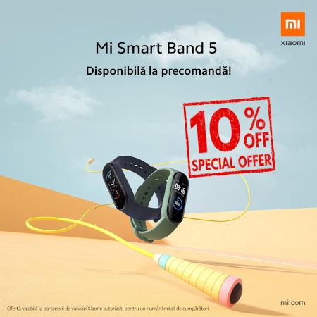 Mi Smart Band 5 vine discount de 10% pentru primii cumparatori. Ofertă valabilă începând cu 24 iulie
