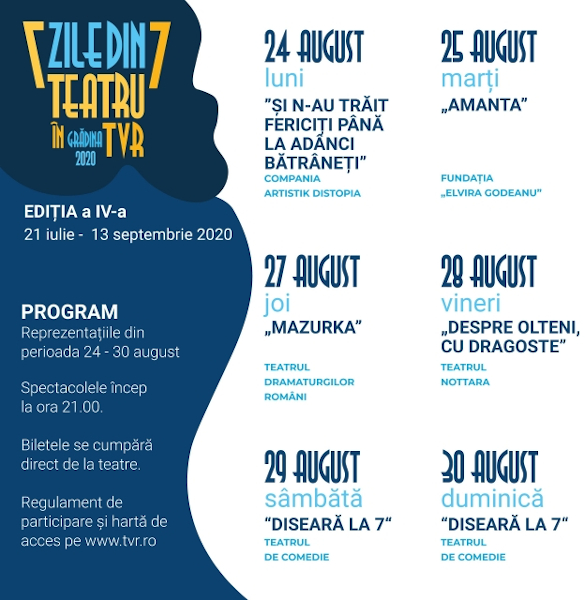 Teatru in TVR, Program 24-30 august
