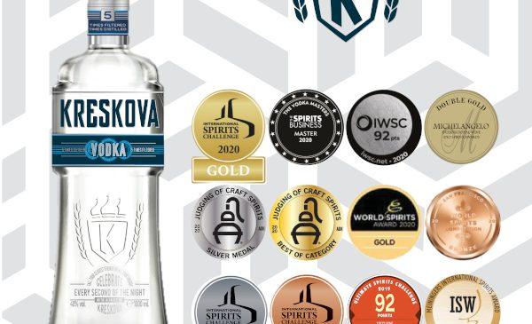 Kreskova Vodka: Medalie Master la The Vodka Masters 2020 şi alte 11 medalii la competiţii prestigioase, desfăşurate pe 3 continente