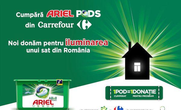 POD cu POD luminezi o casă – o campanie Ariel și Carrefour, în parteneriat cu ViitorPlus