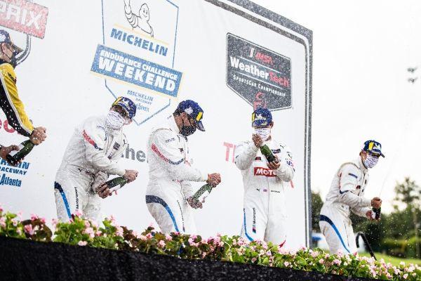 Road Atlanta (USA), 5th September 2020. BMW Team RLL, IMSA WeatherTech SportsCar Championship, Bruno Spengler, Connor De Phillippi, Jesse Krohn, John Edwards, podium