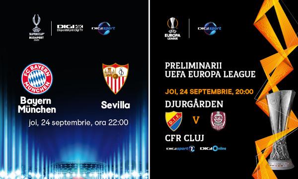 Seară fotbalistică, joi, la Digi Sport! Supercupa Europei și meciul Djurgarden – CFR Cluj, în direct, pe Digi Sport 1
