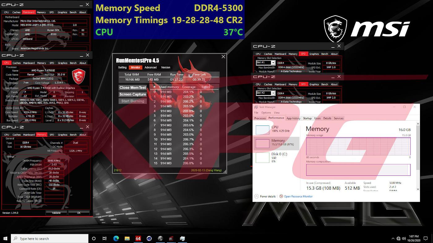 XPG SPECTRIX D50 XTREME - MSI MEG B550 UNIFY X
