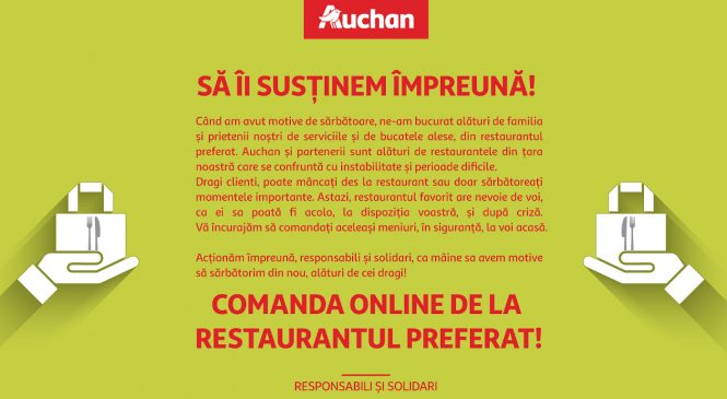 Auchan lansează o invitație la solidaritate către clienții săi, prin care să continue să comande online cu livrare de la restaurantele lor preferate, închise în această perioadă