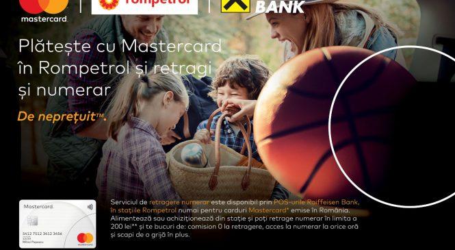 Consumatorii care plătesc cu cardul Mastercard la terminalele POS Raiffeisen Bank din stațiile Rompetrol pot retrage numerar de până la 200 de lei