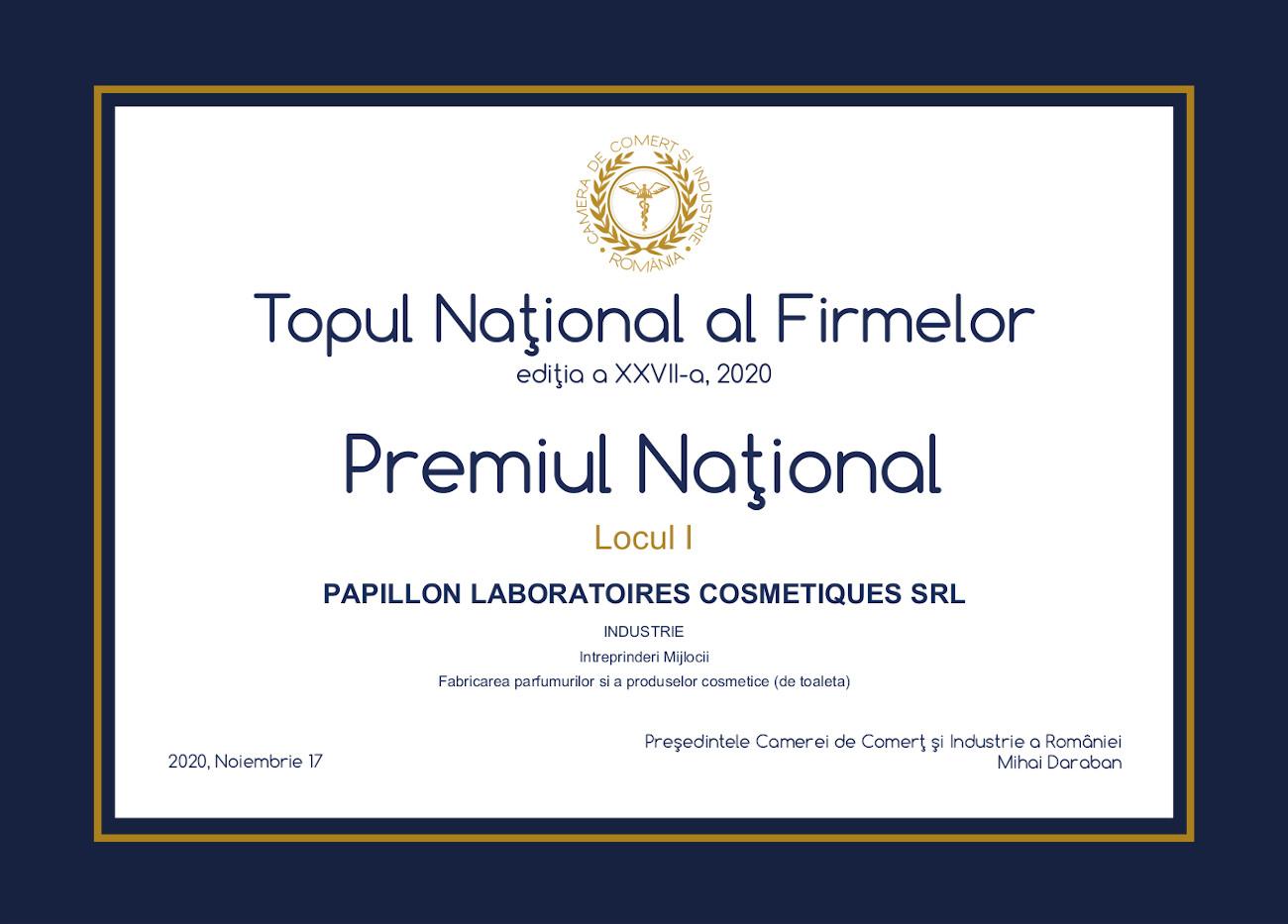 Diploma Papillon Laboratoires Cosmetiques