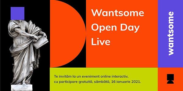 Wantsome Open Day LIVE – eveniment interactiv de prezentare a cursurilor din portofoliul Academiei Prietenoase de IT, disponibile în primul trimestrul al anului 2021