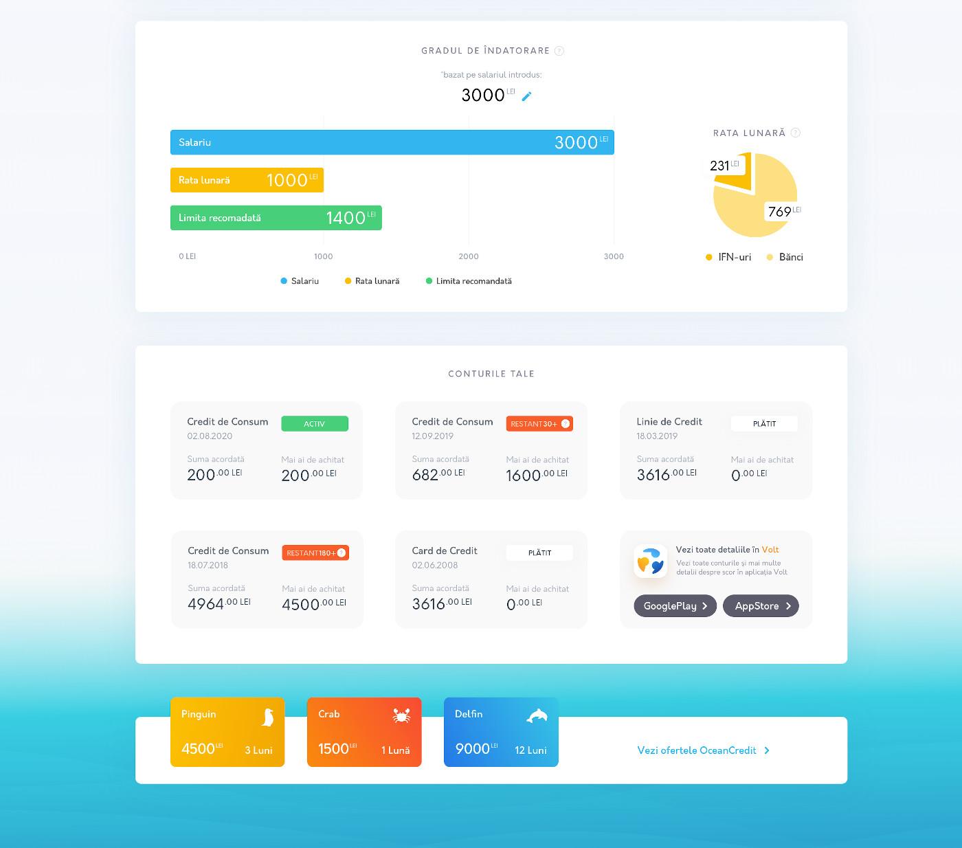 Gradul de Indatorare_Interfața Client Ocean Credit
