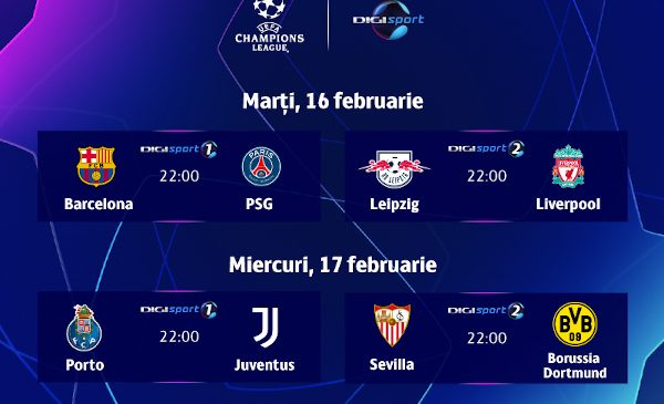 Fotbalul la superlativ revine, în direct, la Digi Sport, cu optimile UEFA Champions League