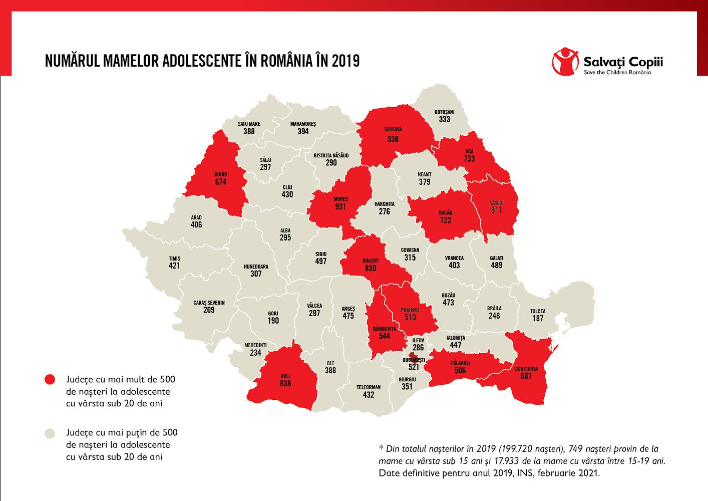harta nasteri mame adolescente Romania