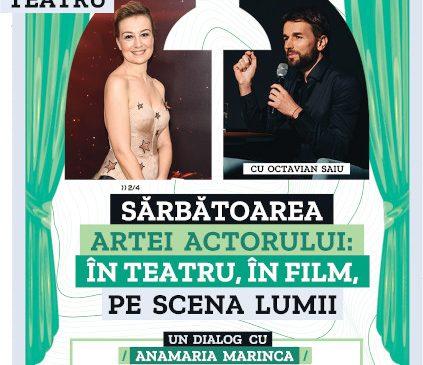 """Actrița Anamaria Marinca este invitata lui Octavian Saiu într-o nouă ediție a """"Anotimpurilor dialogului despre teatru"""" difuzată chiar de Ziua Mondială a Teatrului"""