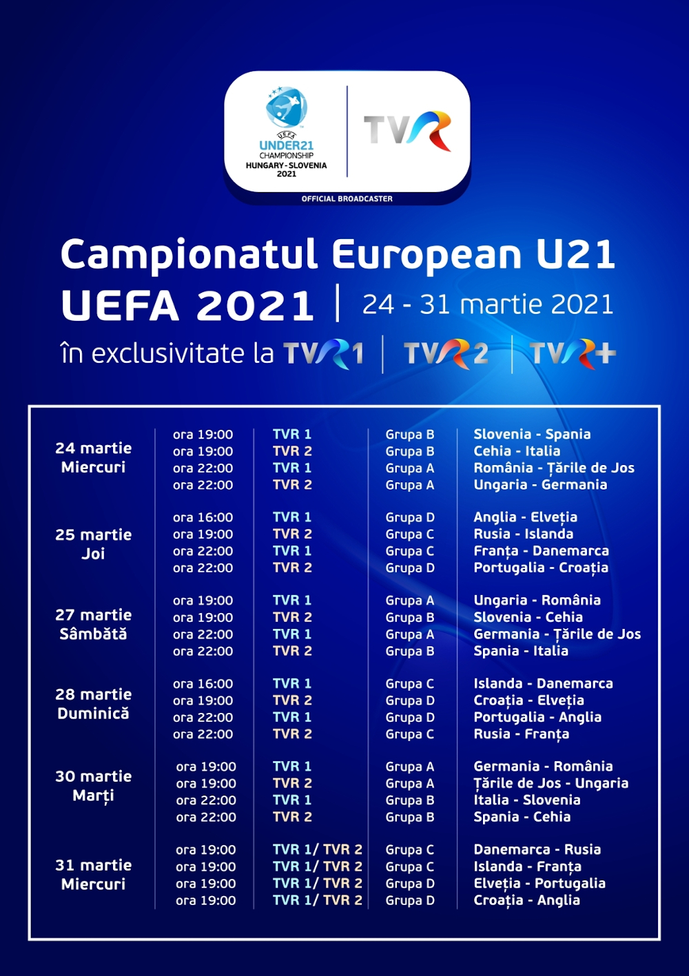 Program transmisiuni meciuri UEFA EURO U21 la TVR