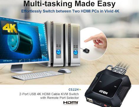 ATEN anunță beneficiile echipamentului switch KVM dual-port 4K cu HDMI și USB, cu comandă externă pentru selectarea portului