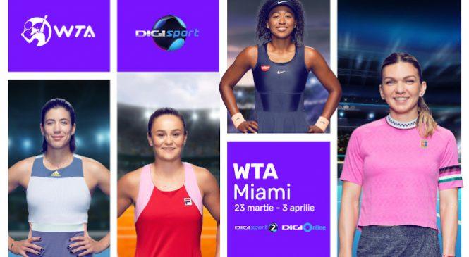 WTA Miami se vede în exclusivitate la Digi Sport. Simona Halep va evolua din turul al doilea