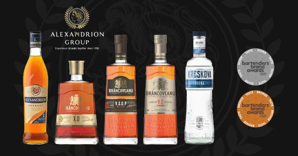 Brâncoveanu Vinars, Alexandrion şi Kreskova Vodka au cucerit medalii pentru calitatea gustului la Bartenders' Brand Awards 2021