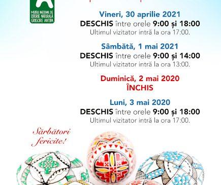 Programul de vizitare al Muzeului Antipa în perioada 30 aprilie–3 mai 2021