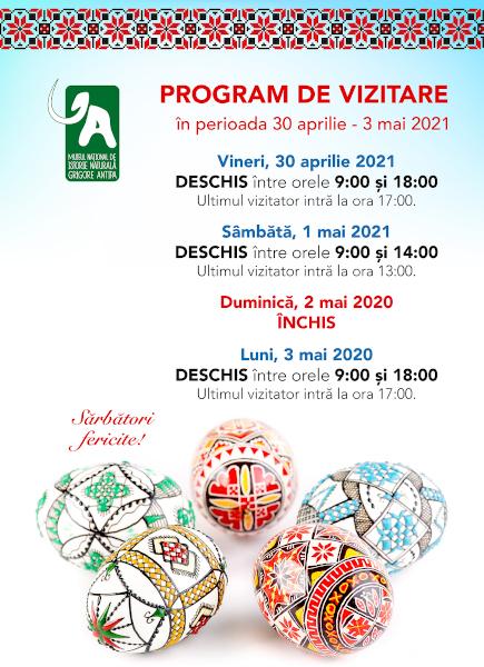 Program vizitare Antipa Paste 2021